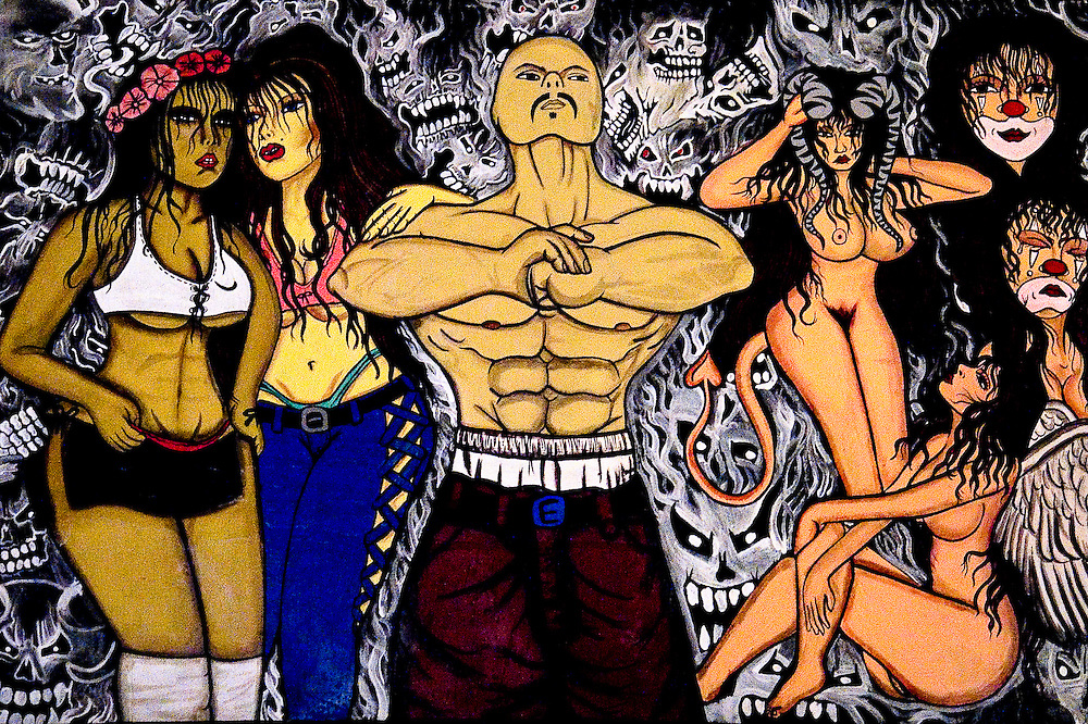 A painting by a member of 18th Street hangs in a house in San Salvador. Themes of clowns, muscled men, naked women,  and skulls abound in the tattoos that adorns many Mara's bodies.  These tattoos fundamentally separate gang members from society  for the entire lives.  Because the gang culture is so youth dominated the repercussions of the tattoos do not outweigh the gains in solidarity and commitment.
