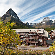 fall colors in glacier national park, montana usa, crown of the continent, many glacier hotel