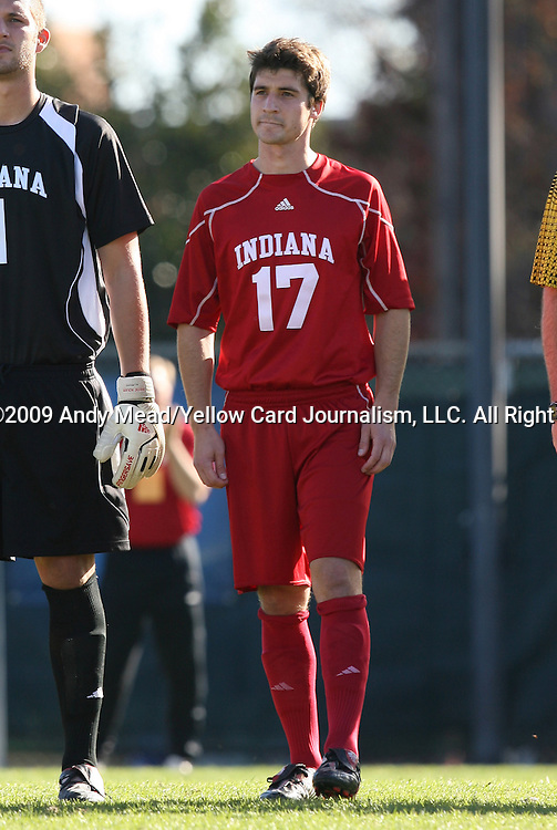 29 November 2009: Indiana's Lee Hagedorn. The University of North Carolina Tar Heels defeated the Indiana University Hoosiers 1-0 at Fetzer Field in Chapel Hill, North Carolina in an NCAA Division I Men's Soccer Tournament Third Round game.