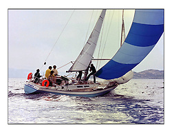 The Clyde Cruising Club's 1977 Tomatin Trophy the first Scottish Series held at Tarbert Loch Fyne.  An overnight race from Gourock to Campbeltown then on to Olympic Triangles in Loch Fyne. ..Glen Perry's, K4134,  Sherpa on a tight reach