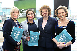 © Licensed to London News Pictures. 31/01/2017. Belfast, Northern Ireland, UK. Sinn Féin's leader in the north of Ireland, Michelle O'Neill, deputy leader Mary Lou McDonald TD, Carál Ní Chuilín, MLA for Belfast North and Martina Anderson MEP, gather after a news conference in Belfast's Waterfront Hall. Sinn Féin where launching its document 'The Case for the North to achieve Designated Special Status Within the EU' on the day Westminister debate Brexit. Photo credit : Paul McErlane/LNP