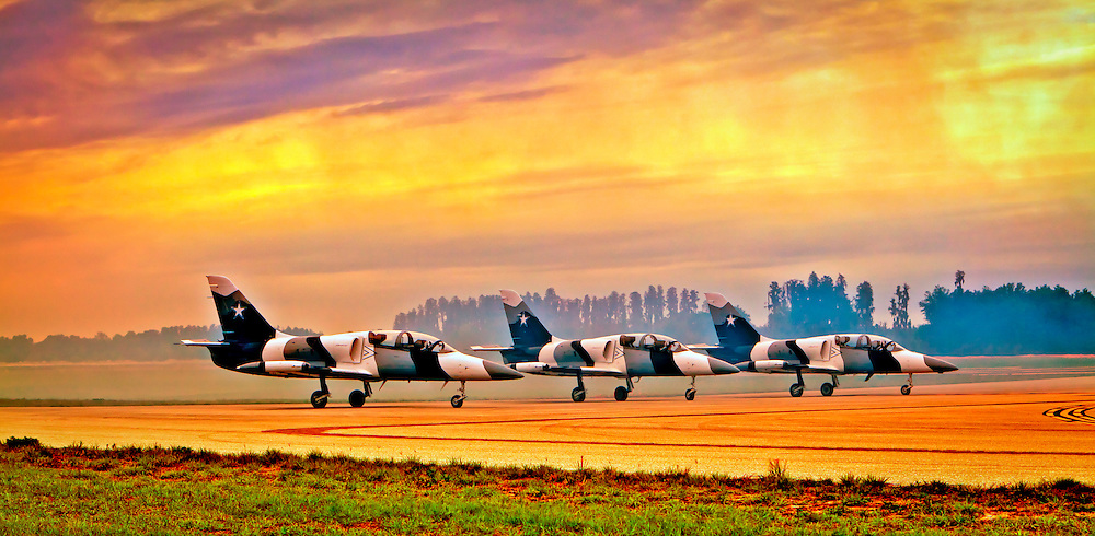L-39's of the Hoppers Jet Team prepare for take off during the 2011 Sun 'n Fun Air Show in Lakeland, Florida.