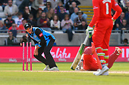 Wicket - Dane Vilas of Lancashire is run out by Ed Barnard of Worcestershire during the Vitality T20 Finals Day Semi Final 2018 match between Worcestershire Rapids and Lancashire Lightning at Edgbaston, Birmingham, United Kingdom on 15 September 2018.