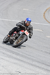 Ebay Jake on his number 13 Harley-Davidson 45 inch Flat Head in the Sons of Speed Vintage Motorcycle Races at New Smyrina Speedway. New Smyrna Beach, USA. Saturday, March 9, 2019. Photography ©2019 Michael Lichter.