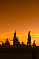 Metropolitan Cathedral (Catedral Metropolitana) at sunset, Plaza de Armas (square) in the historic Center of Guadalajara, Jalisco, Mexico