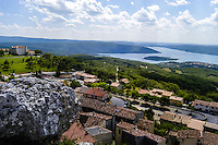 Village above Lac de Sainte-Croix in southern France, a man-made lake formed as a result of the Barrage de Sainte-Croix dam.