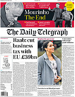 Daily Telegraph Front Page as Meghan, Duchess of Sussex, visits the Royal Variety Charity's residential nursing and care home, Brinsworth House, in Twickenham, London, UK on the 18th December 2018. <br /> <br /> Picture by James Whatling