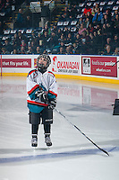 KELOWNA, CANADA - FEBRUARY 10: The Pepsi Player lines up on the blue line against the Vancouver Giants on February 10, 2017 at Prospera Place in Kelowna, British Columbia, Canada.  (Photo by Marissa Baecker/Shoot the Breeze)  *** Local Caption ***