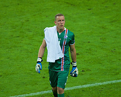 PARIS, FRANCE - Sunday, July 3, 2016: Iceland's goalkeeper Hannes Halldórsson walks off dejected with his side 4-0 down at half-time against France during the UEFA Euro 2016 Championship Semi-Final match at the Stade de France. (Pic by Paul Greenwood/Propaganda)