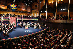 """Nobelpreisverleihung 2016 in der Konzerthalle in Stockholm / 101216 ***Photo shows a concert hall in Stockholm, at which the Nobel Prize Award Ceremony took place on Dec. 10, 2016. Japanese scientist Yoshinori Ohsumi was awarded the Nobel prize in physiology or medicine for elucidating """"autophagy,"""" an intracellular process that degrades and recycles proteins."""