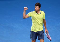 MELBOURNE, Jan. 22, 2018  Dominic Thiem of Austria reacts during the men's singles fourth round match against Tennys Sandgren of the United States at Australian Open 2018 in Melbourne, Australia, Jan. 22, 2018. Dominic Thiem lost 2-3. (Credit Image: © Li Peng/Xinhua via ZUMA Wire)
