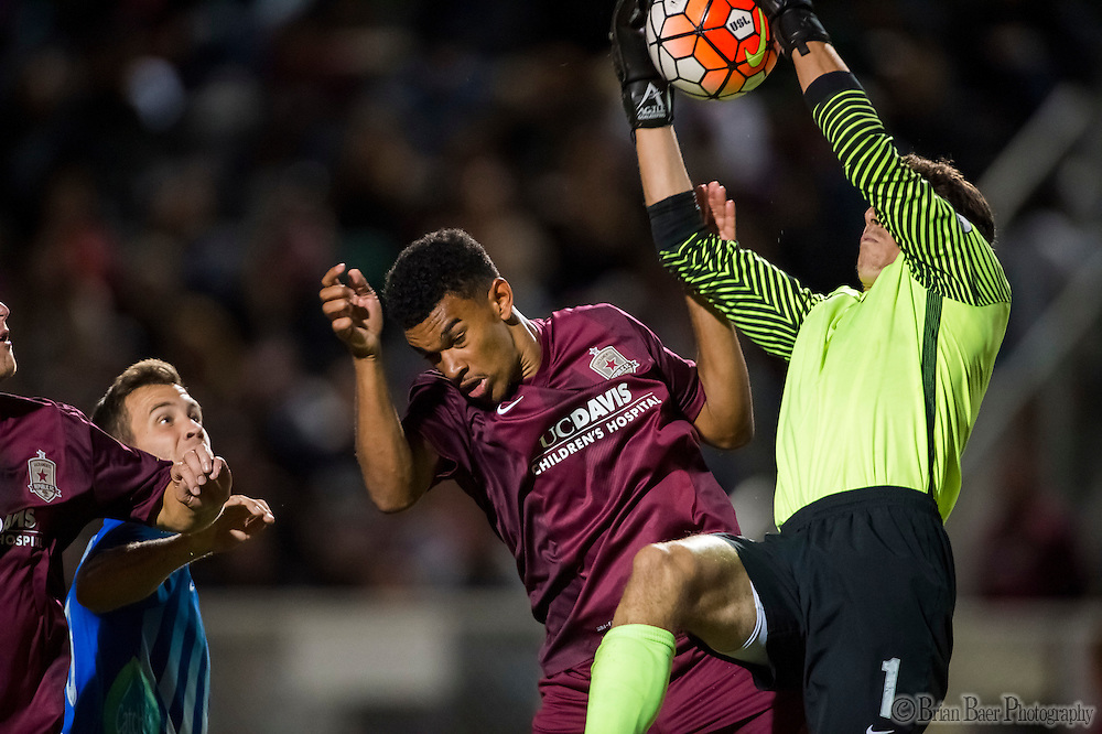 Sacramento Republic FC Wilson Kneeshaw (29) and Orange County Blues FC keeper Josh Cohen (1), collide during the second half of the USL Western Conference first round playoff game between the Republic FC and the visiting Orange County Blues FC at Bonney Field, Saturday Oct 1, 2016.<br /> photo by Brian Baer