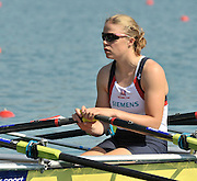 Banyoles, SPAIN, GBR W4X,  Anna BEBINGTON at the start of the Race for lanes in the Women's quadruple sculls  FISA World Cup Rd 1. Lake Banyoles  Saturday, 30/05/2009   [Mandatory Credit. Peter Spurrier/Intersport Images]