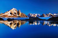 Mountain impression Lac Blanc with Aiguille Vert, Aiguilles de Chamonix - Europe, France, Haute Savoie, Aiguilles Rouges, Chamonix, Lac Blanc - Sunset - September 2008