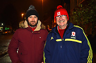 Middlesbrough fans arriving at Rodney Parade Stadium before the The FA Cup match between Newport County and Middlesbrough at Rodney Parade, Newport, Wales on 5 February 2019.