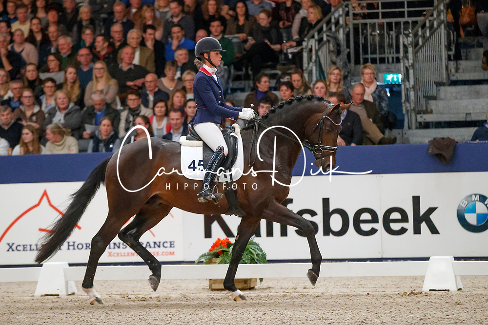 Van Liere Dinja, NED, Johnny Cash<br /> KWPN Stallionshow - 's Hertogenbosch 2018<br /> © Hippo Foto - Dirk Caremans<br /> 02/02/2018