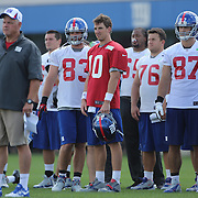 Quarterback Eli Manning at training during the 2013 New York Giants Training Camp at the Quest Diagnostics Training Centre, East Rutherford, New Jersey, USA. 29th July 2013. Photo Tim Clayton.