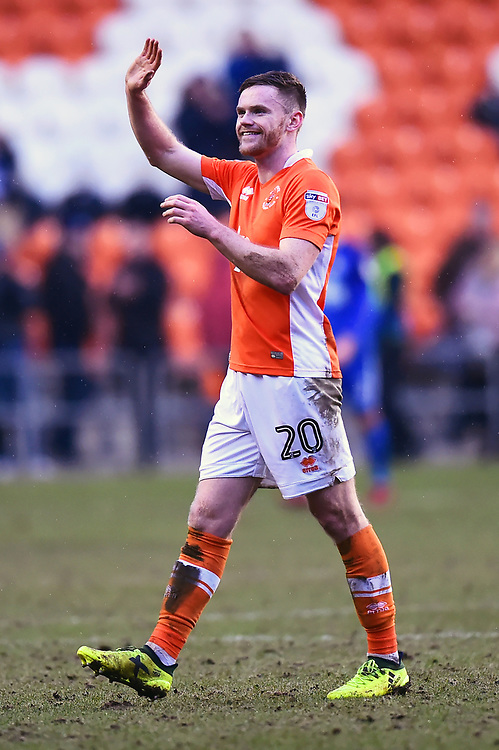Blackpool's Oliver Turton waves at the end of the match<br /> <br /> Photographer Richard Martin-Roberts/CameraSport<br /> <br /> The EFL Sky Bet League One - Blackpool v Peterborough United - Sunday 18th February 2018 - Bloomfield Road - Blackpool<br /> <br /> World Copyright © 2018 CameraSport. All rights reserved. 43 Linden Ave. Countesthorpe. Leicester. England. LE8 5PG - Tel: +44 (0) 116 277 4147 - admin@camerasport.com - www.camerasport.com