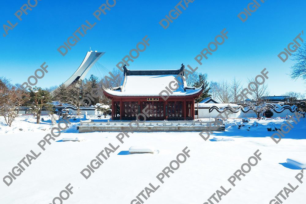 January 24, 2021 - Montreal Botanical Garden, Quebec, Canada - Chinese Garden in Winter with snow