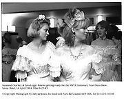 Suzannah Starkey & Zara Legge-Bourke getting ready for the NSPCC Centenary Year Dress Show. Savoy Hotel. 16 April 1984. Film 84254f3<br />