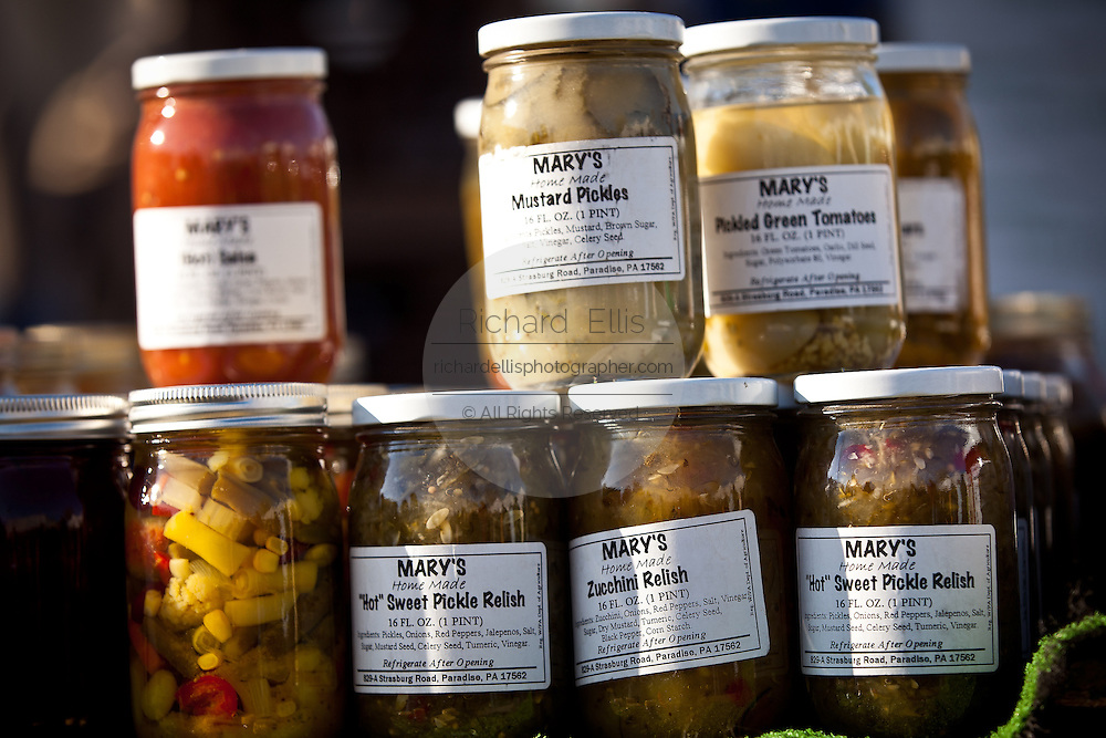 Amish made pickles at the Annual Mud Sale to support the Fire Department  in Gordonville, PA.
