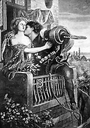 Romeo and Juliet' play by Wiliam Shakespeare written c1895.   Romeo leaving Juliet at dawn and about to climb down from the balcony of her room.