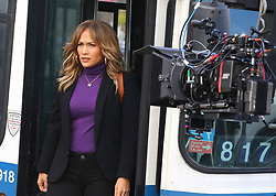 "Jennifer Lopez exits a bus as she begins filming her upcoming project ""Second Act"" in Astoria, Queens. 23 Oct 2017 Pictured: Jennifer Lopez. Photo credit: LRNYC / MEGA TheMegaAgency.com +1 888 505 6342"