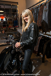 Karen Davidson with a Harley-Davidson XLCR at the Mr. Martini Friday night party celebrating the opening of his bar / restaurant at the workshop during the Motor Bike Expo. Verona, Italy. January 22, 2016.  Photography ©2016 Michael Lichter.