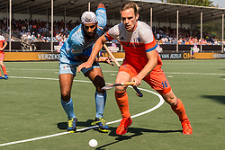 (L-R) Jarmanpreet Singh of India, Mirco Pruyser of The Netherlands during the Champions Trophy match between the Netherlands and India on the fields of BH&BC Breda on June 30, 2018 in Breda, the Netherlands