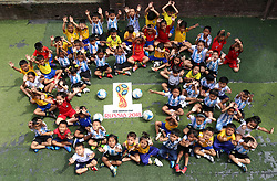 KATHMANDU, June 21, 2018  Children cheer at a local school in Kathmandu, Nepal, June 20, 2018. Children enjoyed the fun of playing football as the 2018 FIFA World Cup goes on in Russia. (Credit Image: © Sunil Sharma/Xinhua via ZUMA Wire)