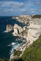 Bonifacio, limestone coastline, with Grain de Sable rock<br /> France: Corsica, Bonifacio (most southerly town in Corsica and port for the Lavezzi Islands, which lie 10 km South East)
