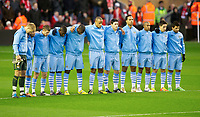 20111127: LIVERPOOL, ENGLAND - <br /> FC Liverpool vs Manchester City: English Premier League 2011/2012.<br /> In photo: Manchester City players stand still for one minute in memory of Liverpool's goalkeeper Brad Jones' son, Luca, and Wales manager Gary Speed, who died this morning, before the football match of English premier league.<br />  PHOTO: CITYFILES