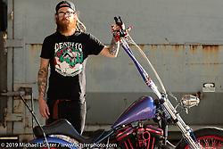 Josh Birnbaumer of Baumers Cycle in Des Moines, Iowa, with his Sticker Licker custom Harley-Davidson Sportster at the Handbuilt Show. Austin, Austin USA. Sunday, April 14, 2019. Photography ©2019 Michael Lichter.