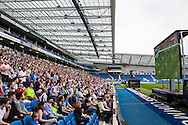 Brighton fans watch the live beamback at the American Express Community Stadium in Brighton for the Sky Bet Championship match between Middlesbrough and Brighton and Hove Albion at the Riverside Stadium, Middlesbrough, England on 7 May 2016. Photo by Bennett Dean.