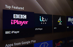 Stock photo of TV programme viewing apps, BBC iPlayer, itv HUB/ITV Player, All 4 and My5 available on a smart television.