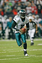 Philadelphia Eagles quarterback Michael Vick #7 carries the ball during the NFL game between the Philadelphia Eagles and the Atlanta Falcons on December 6th 2009. The Eagles won 34-7 at The Georgia Dome in Atlanta, Georgia. (Photo By Brian Garfinkel)