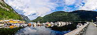 Norway, Telemark. Dalen with the Bandak lake, a part of the Telemark Canal. Stitched panorama.