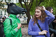 Moscow, Russia, 12/05/2012..A protester wearing a horses head mask in Chistiye Prudy, or Clean Ponds, a park in central Moscow were some 200 opposition activists have set up camp.