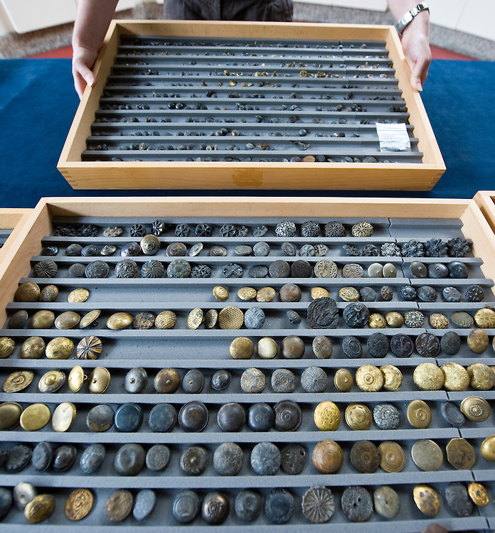 London July 22nd The Museum of London unveils today one of the largest collections of medieval and early modern buttons in the UK Over  2500 buttons of all shapes  and size  ranging from late 14th Century have been  given to the museum by  Tony Pilson. Pilson dedicated over 30 years to find them with other Mudlarkers...***Standard Licence  Fee's Apply To All Image Use***.Marco Secchi /Xianpix. tel +44 (0) 845 050 6211. e-mail ms@msecchi.com or sales@xianpix.com.www.marcosecchi.com