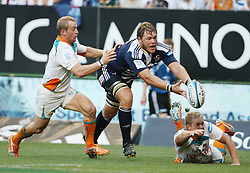 Duane Vermeulen almost gets his hands on the ball while Sarel Pretorius and Philip Snyman tries to prevent the try during the Super Rugby (Super 15) fixture between the DHL Stormers and the Cheetahs held at DHL Newlands Stadium in Cape Town, South Africa on 26 February 2011. Photo by Jacques Rossouw/SPORTZPICS