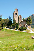 San Gian church with its ruined bell tower, Celerina, Maloja Region, Graubünden, Switzerland