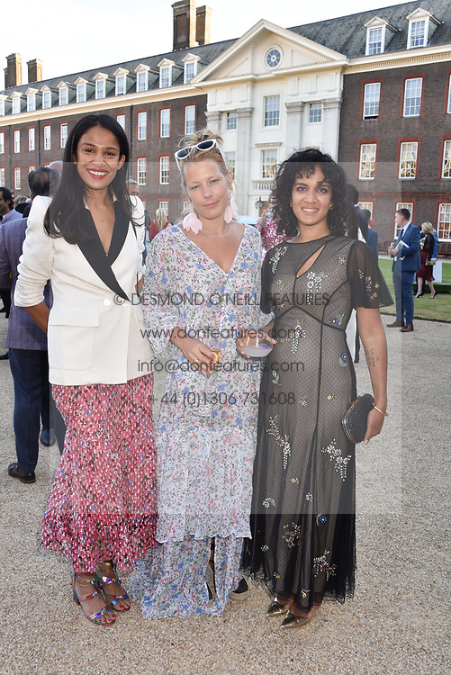 Left to right, Saloni Lodha, Davina Harbord and Anoushka Shankar at the Concours d'éléphant in aid of Elephant Family held at the Royal Hospital Chelsea, London, England. 28 June 2018.