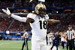 UCF Knights linebacker Shaquem Griffin (18) reacts to a play during the 2018 Chick-fil-A Peach Bowl NCAA football game against the Auburn Tigers on Monday, January 1, 2018 in Atlanta. (Jason Parkhurst / Abell Images for the Chick-fil-A Peach Bowl)