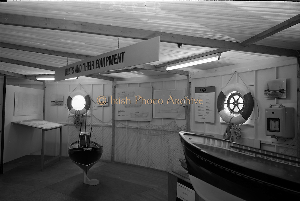 "07/05/1965<br /> 05/07/1965<br /> 07 May 1965<br /> Interiors and exteriors of B.I.M. Pavilion at the RDS Spring Show at the Royal Dublin Society, Ballsbridge, Dublin. Picture shows a display on ""Boats and their Equipment""."