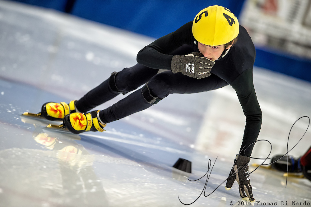 March 19, 2016 - Verona, WI - Dylan Gould, skater number 45 competes in US Speedskating Short Track Age Group Nationals and AmCup Final held at the Verona Ice Arena.
