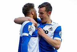 Matt Taylor of Bristol Rovers celebrates with Tom Lockyer after scoring a goal to make it 0-1 - Photo mandatory by-line: Rogan Thomson/JMP - 07966 386802 - 29/04/2015 - SPORT - FOOTBALL - Nailsworth, England - The New Lawn - Forest Green Rovers v Bristol Rovers - Vanarama Conference Premier - Playoff Semi Final 1st Leg.