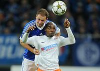 Fotball<br /> Tyskland<br /> 03.10.2012<br /> Foto: Witters/Digitalsport<br /> NORWAY ONLY<br /> <br /> v.l. Benedikt Hoewedes, Souleymane Camara (Montpellier)<br /> Fussball Champions League, Gruppenphase, FC Schalke 04 - HSC Montpellier
