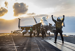 PACIFIC OCEAN (May 16, 2017) Sailors conduct flight operations aboard the Nimitz-class aircraft carrier USS Carl Vinson (CVN 70) in the western Pacific. The U.S. Navy has patrolled the Indo-Asia-Pacific routinely for more than 70 years promoting regional peace and security. (U.S. Navy photo by Mass Communication Specialist 2nd Class Rebecca Sunderland/Released) 170516-N-YA681-012<br /> Join the conversation:<br /> http://www.navy.mil/viewGallery.asp<br /> http://www.facebook.com/USNavy<br /> http://www.twitter.com/USNavy<br /> http://navylive.dodlive.mil<br /> http://pinterest.com<br /> https://plus.google.com