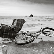 An unexpected and improbable encounter on the Polar Plateau at the South Pole: an easy chair and a Raleigh mountain bike.
