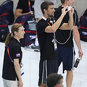 USA swimmer Michael Phelps takes pictures of the pool before training with the USA team at the Aquatic Centre at Olympic Park, Stratford during the London 2012 Olympic games preparation at the London Olympics. London, UK. 23rd July 2012. Photo Tim Clayton